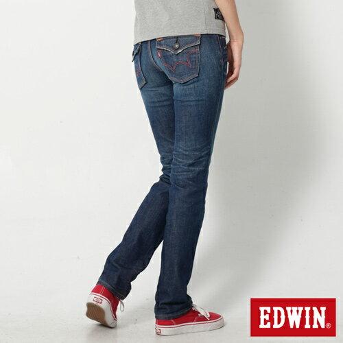 【990元優惠↘】EDWIN Miss 503 EDEG LINE 袋蓋窄直筒牛仔褲-女款 拔洗藍 1