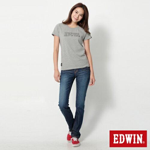 【990元優惠↘】EDWIN Miss 503 EDEG LINE 袋蓋窄直筒牛仔褲-女款 拔洗藍 2