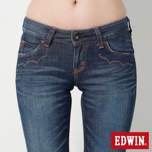 【990元優惠↘】EDWIN Miss 503 EDEG LINE 袋蓋窄直筒牛仔褲-女款 拔洗藍 3