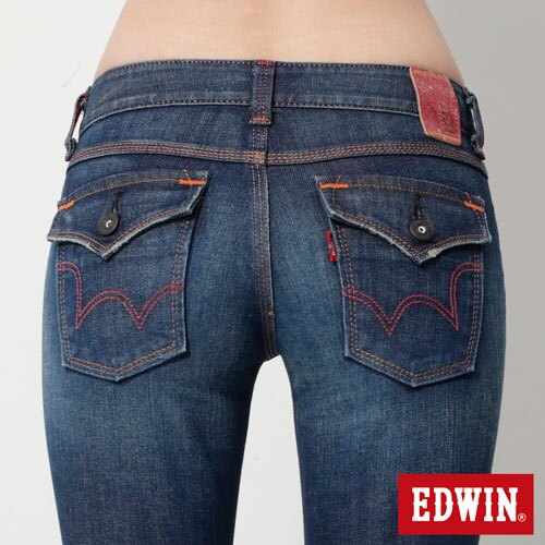 【990元優惠↘】EDWIN Miss 503 EDEG LINE 袋蓋窄直筒牛仔褲-女款 拔洗藍 4