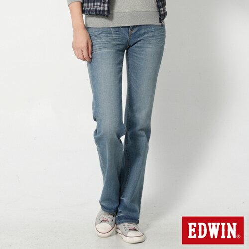 【2件組福袋。1599元↘】EDWIN Miss 503 EDGE 雙W鏡射繡花口袋 靴型牛仔褲-女款 石洗漂藍 0
