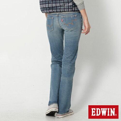 【2件組福袋。1599元↘】EDWIN Miss 503 EDGE 雙W鏡射繡花口袋 靴型牛仔褲-女款 石洗漂藍 1