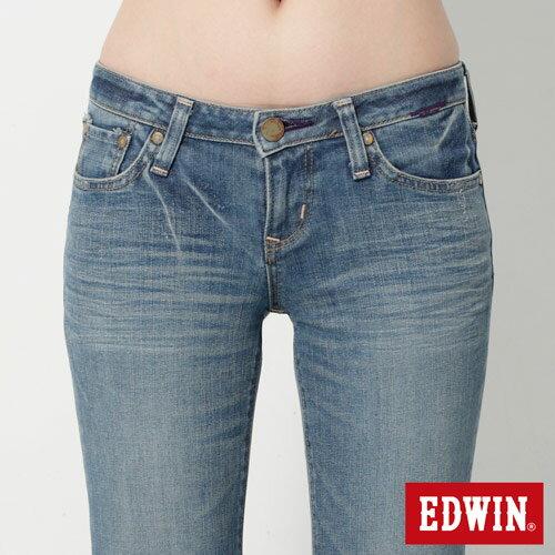 【2件組福袋。1599元↘】EDWIN Miss 503 EDGE 雙W鏡射繡花口袋 靴型牛仔褲-女款 石洗漂藍 3