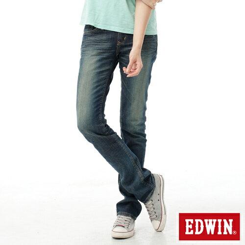 【2件組福袋。1599元↘】EDWIN Miss 503 EDGE LINE 雙W鏡射繡花口袋 窄直筒牛仔褲-女款 石洗復古藍 0