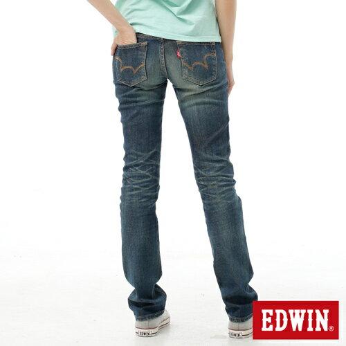 【2件組福袋。1599元↘】EDWIN Miss 503 EDGE LINE 雙W鏡射繡花口袋 窄直筒牛仔褲-女款 石洗復古藍 1