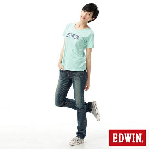 【2件組福袋。1599元↘】EDWIN Miss 503 EDGE LINE 雙W鏡射繡花口袋 窄直筒牛仔褲-女款 石洗復古藍 2