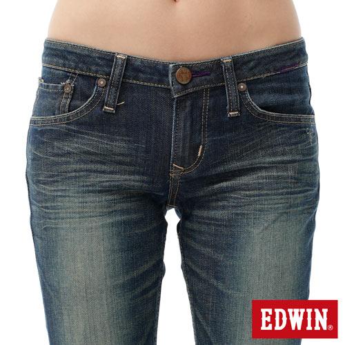 【2件組福袋。1599元↘】EDWIN Miss 503 EDGE LINE 雙W鏡射繡花口袋 窄直筒牛仔褲-女款 石洗復古藍 3