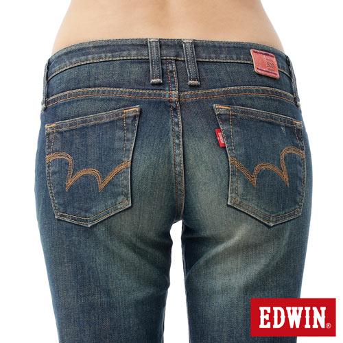 【990元優惠↘】EDWIN Miss 503 EDGE LINE 雙W鏡射繡花口袋 窄直筒牛仔褲-女款 石洗復古藍【單筆888輸入代碼fashion2228-1折100元↘單筆999點數13倍↘再抽2萬里程數↘】 4