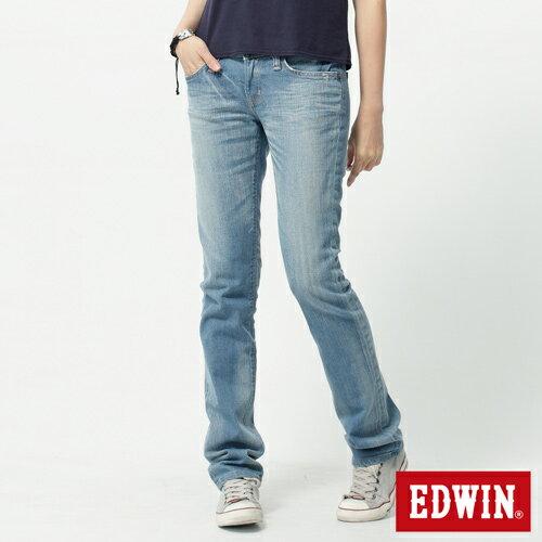 【2件組福袋。1599元↘】EDWIN Miss 503 EDGE LINE 雙W鏡射繡花口袋 窄直筒牛仔褲-女 石洗漂淺藍 1