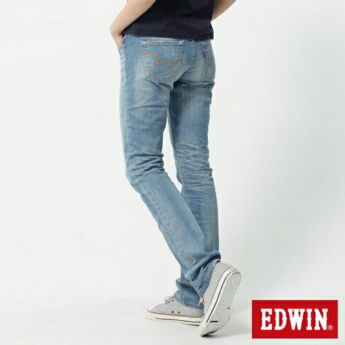 【生日慶最終檔。590丹寧補貨到↘】EDWINMiss503EDGELINE雙W鏡射繡花口袋窄直筒牛仔褲-女石洗漂淺藍【525-531限定販售】