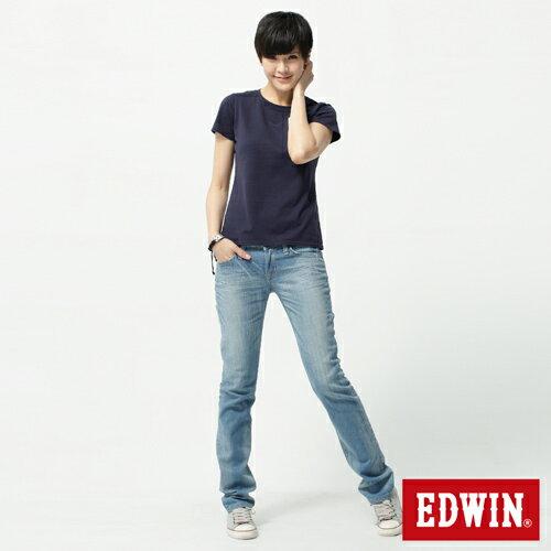 【2件組福袋。1599元↘】EDWIN Miss 503 EDGE LINE 雙W鏡射繡花口袋 窄直筒牛仔褲-女 石洗漂淺藍 2