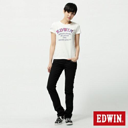 【2件組福袋。1599元↘】EDWIN Miss 503 EDGE LINE 雙W鏡射繡花口袋 窄直筒牛仔褲-女款 黑色 2