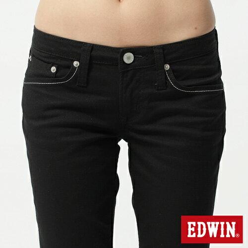 【2件組福袋。1599元↘】EDWIN Miss 503 EDGE LINE 雙W鏡射繡花口袋 窄直筒牛仔褲-女款 黑色 3