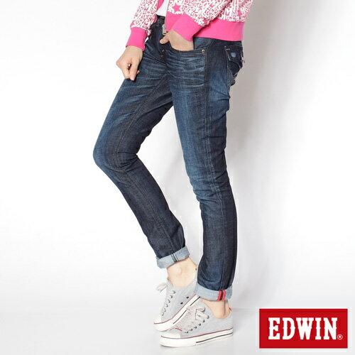 【990元優惠↘】EDWIN Miss 503 BLUE TRIP袋蓋直筒牛仔褲-女款 酵洗藍