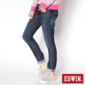 【990元優惠↘】EDWIN Miss 503 BLUE TRIP袋蓋直筒牛仔褲-女款 酵洗藍【APP下單滿799輸入代碼APP170622折100元↘序號限用一次↘】