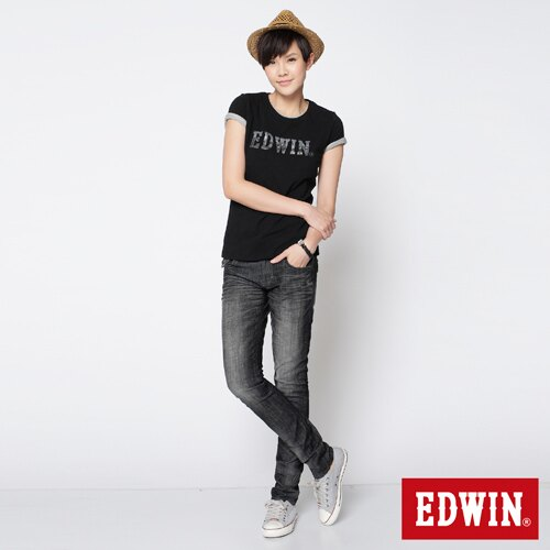 【990元優惠↘】EDWIN Miss 503 BLUE TRIP袋蓋直筒牛仔褲-女款 刷色灰【單筆888輸入代碼fashion2228-2折100元↘單筆999點數13倍↘再抽2萬里程數↘】 2
