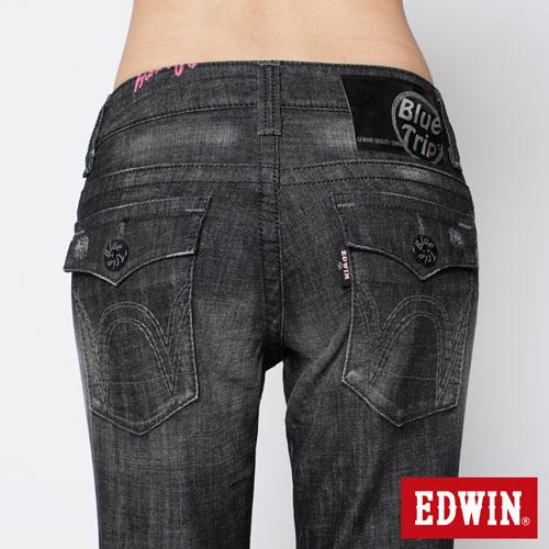 【990元優惠↘】EDWIN Miss 503 BLUE TRIP袋蓋直筒牛仔褲-女款 刷色灰 4