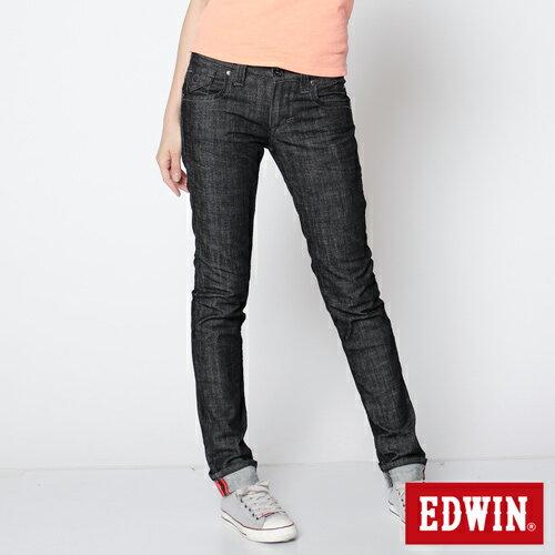 【72HR限定。790元優惠↘】EDWIN Miss 503 BLUE TRIP袋蓋直筒牛仔褲-女款 黑色