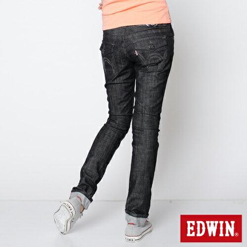 【990元優惠↘】EDWIN Miss 503 BLUE TRIP袋蓋直筒牛仔褲-女款 黑色【下單滿799輸入限量代碼79910030-1折100元↘序號限用一次↘】 1