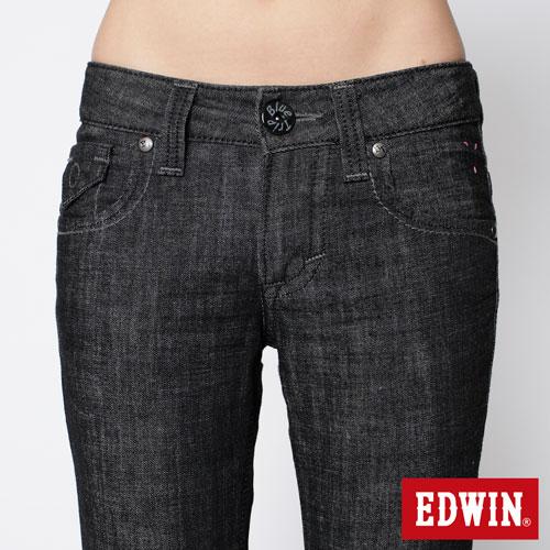 【990元優惠↘】EDWIN Miss 503 BLUE TRIP袋蓋直筒牛仔褲-女款 黑色 3
