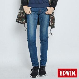 【限量丹寧。均一價590↘】EDWIN EDGE LINE窄管牛仔褲 -女款 拔洗藍