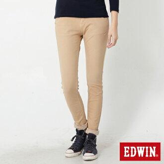 【2000元優惠↘】Miss EDWIN JERSEYS 迦績立體剪裁磨毛 窄直筒牛仔褲-女款 灰卡其