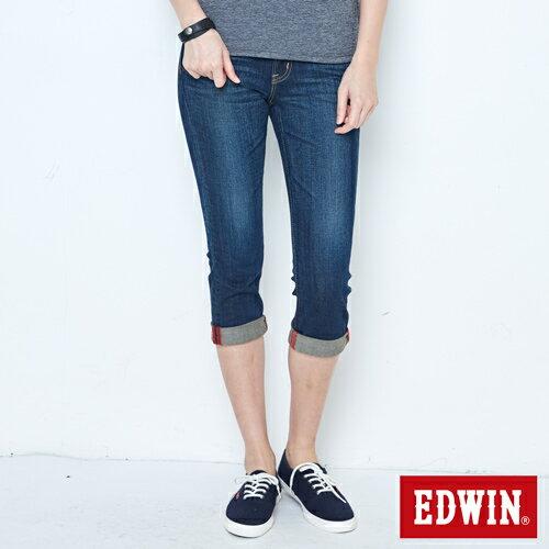 【790元優惠↘】Miss EDWIN EDGE基本合身 七分牛仔褲-女款 拔洗藍