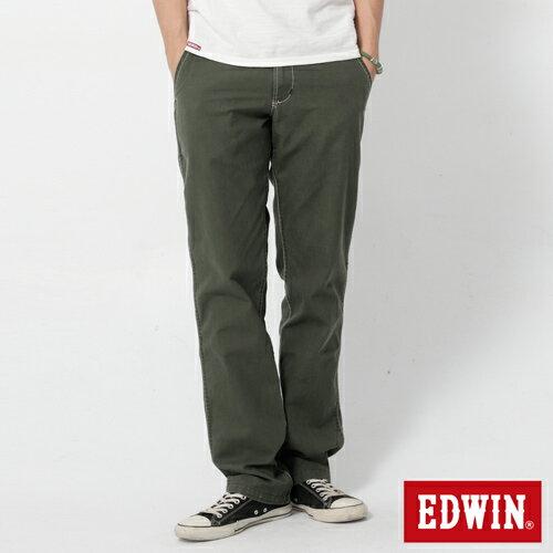 【990元優惠↘】EDWIN BLUE JEANS KHAKI 休閒色褲-男款 橄欖綠【獨家→單筆滿888輸入優惠代碼17h_100_02現折100元】