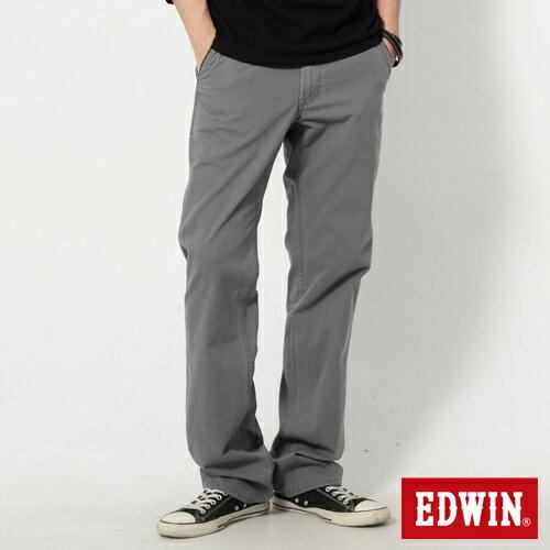 【生日慶最終檔。590丹寧補貨到↘】【零碼】EDWIN皮口袋基本款休閒長褲-男款灰色【525-531限定販售】