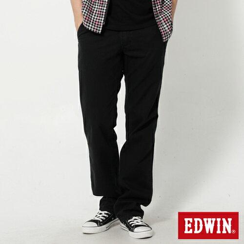 【990元優惠↘】 EDWIN 皮口袋基本款休閒長褲-男款 黑色【2/17單筆消費滿799元| APP結帳輸入序號APP180217 再折100↘數量有限↘限用一次】