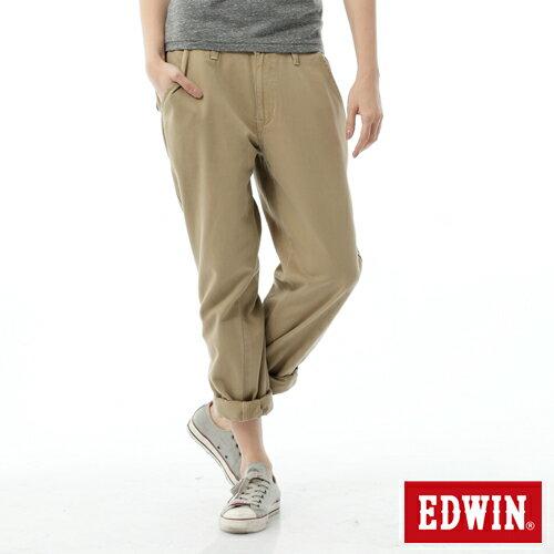 【2/14-2/15限定。丹寧單一價590↘】Miss EDWIN KHAKI BOYFRIEND休閒褲-女款 淺卡其