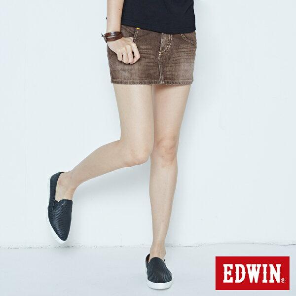 【5折丹寧下單再88折↘】MISS EDWIN迷你俏皮牛仔短裙-女款 原藍磨【9/11-9/20期間限定↘】