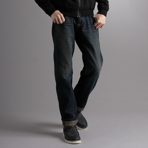 【樂天生日慶限定。任選2件1090元↘】【大尺碼】EDWIN XV 個性刷色反摺 直筒牛仔褲-男款 中古藍【單筆999點數13倍↘再抽2萬里程數↘】
