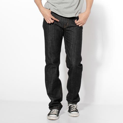 【生日慶最終檔。590丹寧補貨到↘】【零碼】EDWIN503基本款自然刷色中直筒牛仔褲-男款黑色【525-531限定販售】