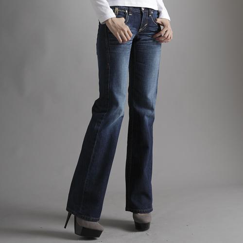 【990元優惠↘】Miss EDWIN BLUE TRIP 交叉縫線靴型牛仔褲 女款 原藍磨 0
