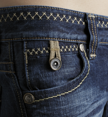 【990元優惠↘】Miss EDWIN BLUE TRIP 交叉縫線靴型牛仔褲 女款 原藍磨 1