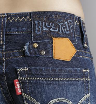 【990元優惠↘】Miss EDWIN BLUE TRIP 交叉縫線靴型牛仔褲 女款 原藍磨 2