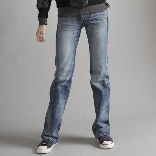 【2件組福袋。1599元↘】Miss EDWIN BLUE TRIP 交叉縫線靴型牛仔褲 女款 漂淺藍 0