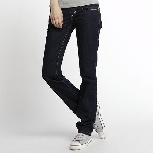 【5折優惠↘】Miss EDWIN BLUE TRIP 褲頭縫線牛仔小直筒褲 女款 原藍色