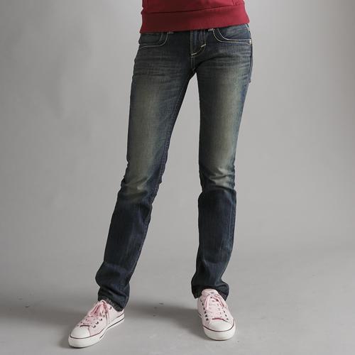 【5折優惠↘】Miss EDWIN BLUE TRIP 交叉縫線靴型牛仔褲 女款 中古藍
