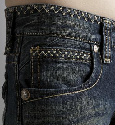 【5折優惠↘】Miss EDWIN BLUE TRIP 交叉縫線靴型牛仔褲 女款 中古藍 1