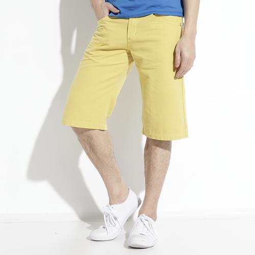 【APP領券9折】EDWIN 503 BLUE TRIP 棉質5分短褲-男款 黃色 SHORTS KAKHI