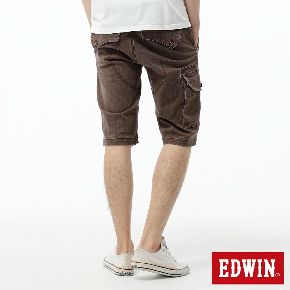 EDWIN 503 KAKHI 3D拉鍊五分休閒褲-男款 咖啡 1