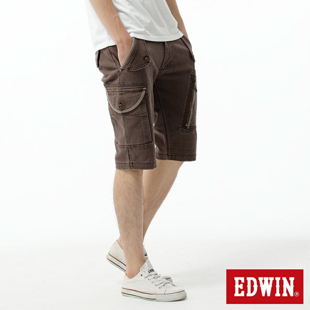 【590元優惠↘】EDWIN 503 KAKHI 3D拉鍊五分休閒褲-男款 咖啡