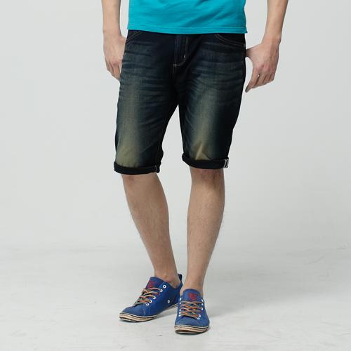 【1290元優惠↘】EDWIN JERSEYS 迦績紅布邊 牛仔短褲-男-原藍磨 0