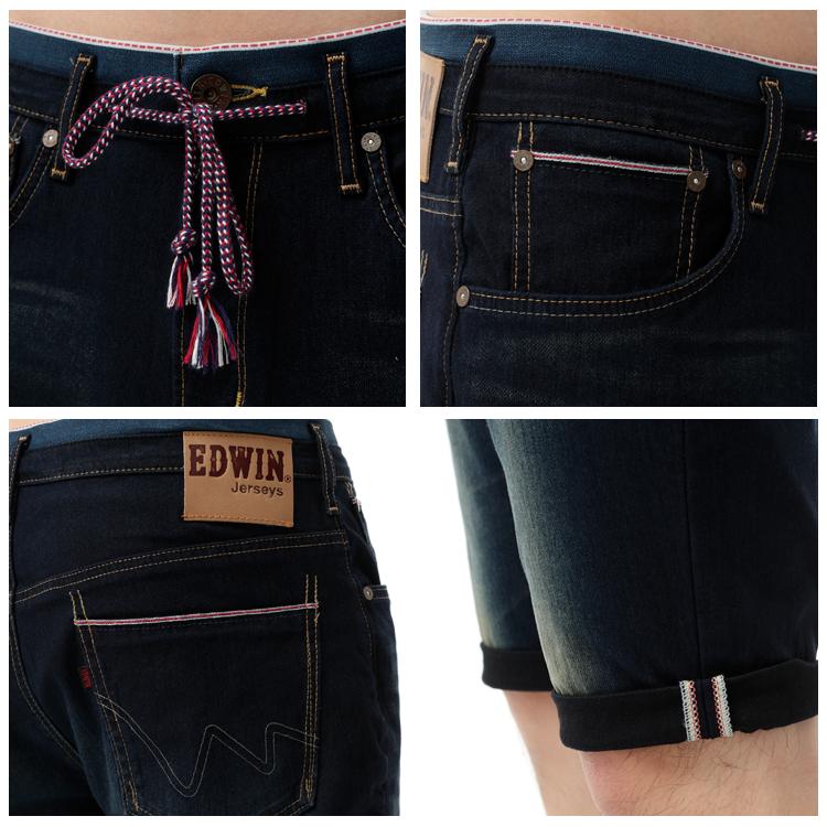 【1290元優惠↘】EDWIN JERSEYS 迦績紅布邊 牛仔短褲-男-原藍磨 1
