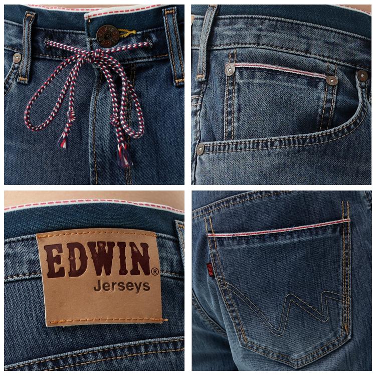 【1290元優惠↘】EDWIN JERSEYS 迦績紅布邊 牛仔短褲-男-石洗綠 1