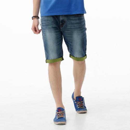 【1290元優惠↘】EDWIN JERSEYS 個性反折 迦績牛仔短褲-男款 石洗綠 0