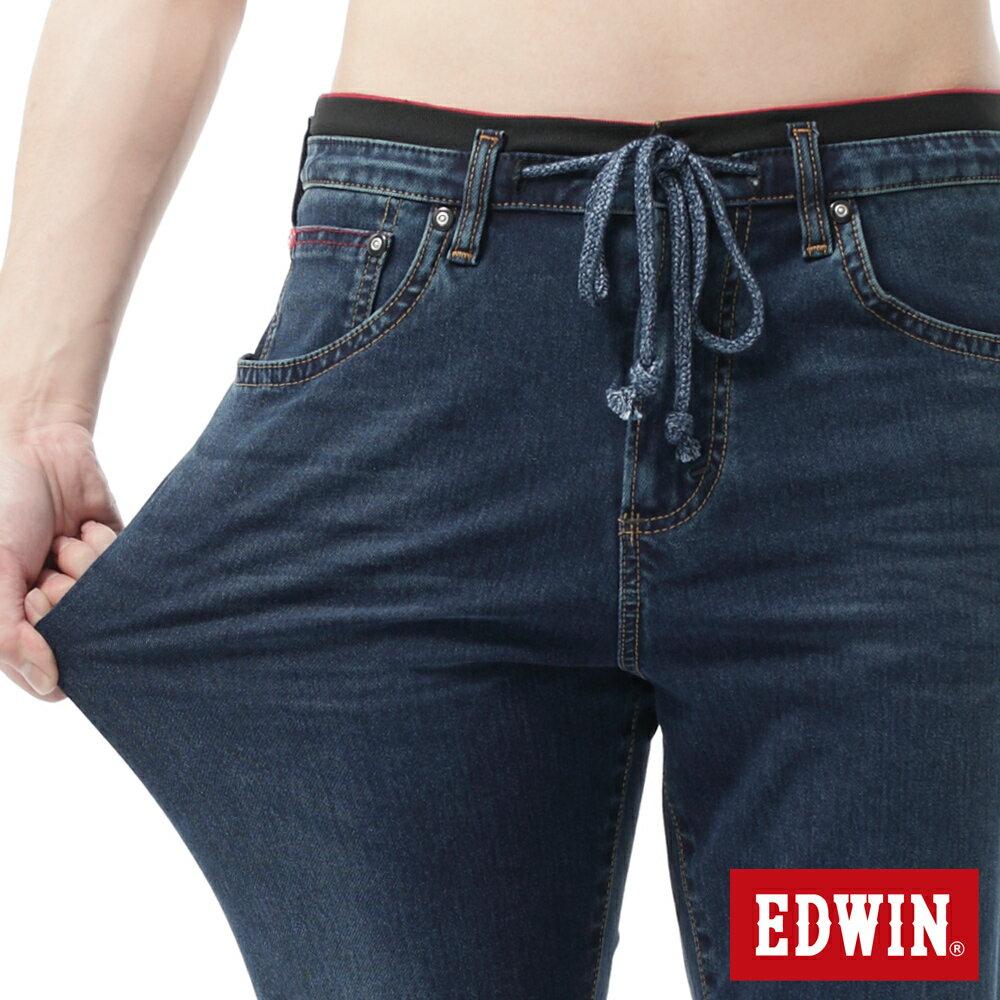 【過年加碼。2件再9折優惠↘】【大尺碼】EDWIN JERSEYS迦績黑腰頭牛仔短褲-男-酵洗藍 1