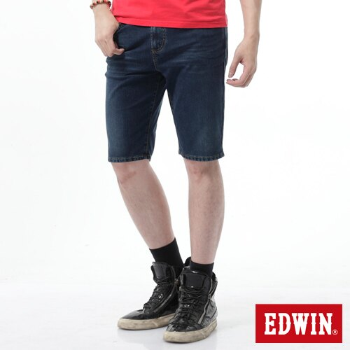 【過年加碼。2件再9折優惠↘】【大尺碼】EDWIN JERSEYS迦績黑腰頭牛仔短褲-男-酵洗藍 0